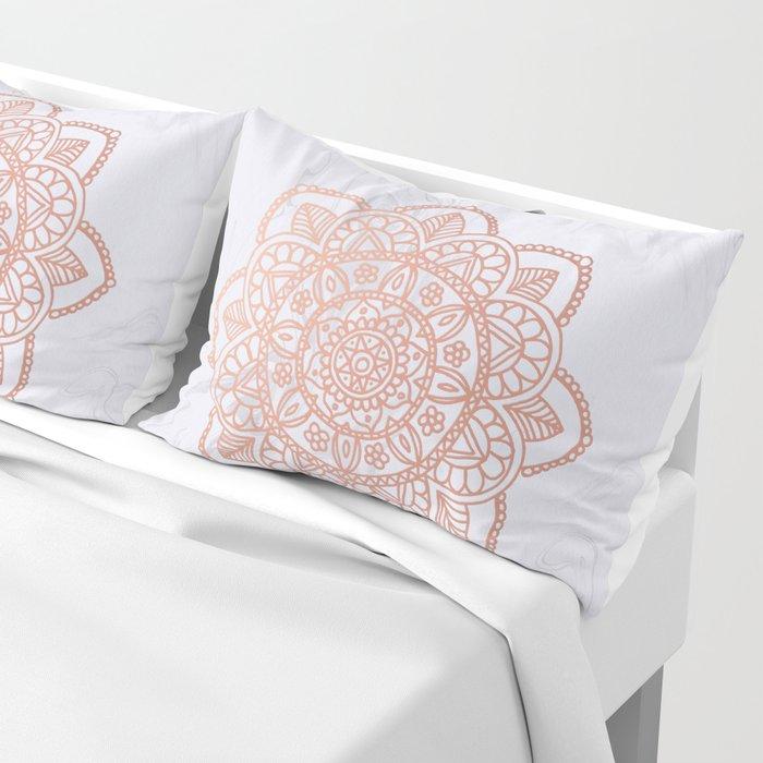 Rose Gold Mandala on White Marble Pillow Sham