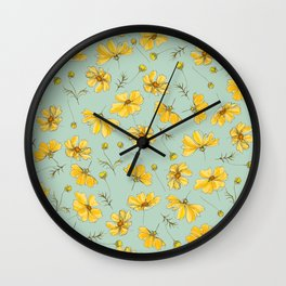 Yellow Cosmos Flower Pattern, Teal Colorway Wall Clock