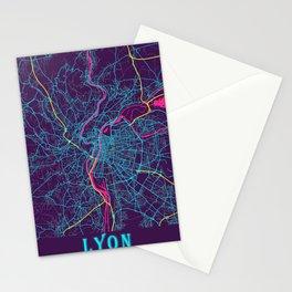 Lyon Neon City Map, Lyon Minimalist City Map Stationery Cards