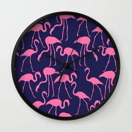 Pink and Navy Flamingo Print Wall Clock