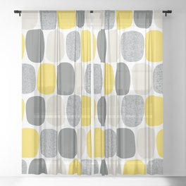 Wonky Ovals in Yellow Sheer Curtain