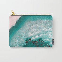 Turquoise Teal Agate with Black Glitter on Blush #1 #faux #glitter #gem #decor #art #society6 Carry-All Pouch