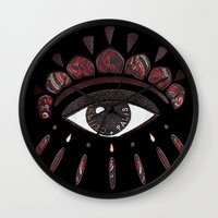 kenzo Wall Clocks featuring KENZO eye red by cvrcak