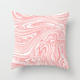 Coral Pink & White Marble Texture - Mix & Match With Simplicity of Life Throw Pillow