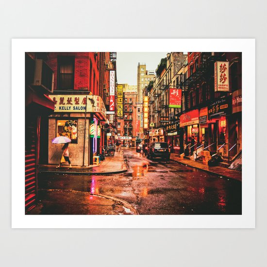 New York City Rain in Chinatown Art Print