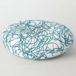 Tropical Dark Teal Abstract Thick Scribble Mosaic Pattern Inspired by Sherwin Williams 2020 Trending Color Oceanside SW6496 on Off White Floor Pillow