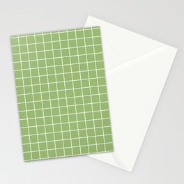 Olivine - green color - White Lines Grid Pattern Stationery Cards