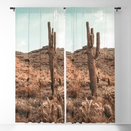 Saguaro Mountain // Vintage Desert Landscape Cactus Photography Teal Blue Sky Southwestern Style Blackout Curtain