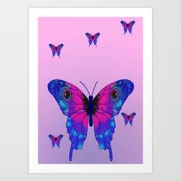 Butterfly Phone Pouch Design Purple Art Print