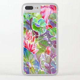original silk painting of water lilies Clear iPhone Case