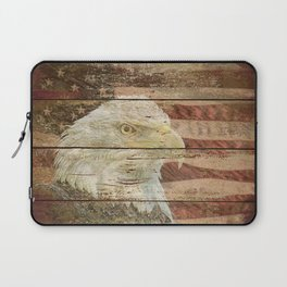 Rustic Bald Eagle Bird American Flag Patriotic Country Art A167 Laptop Sleeve