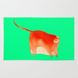 Red cat in green Rug
