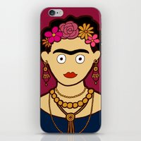 frida kahlo iPhone & iPod Skins featuring Frida Kahlo by evannave