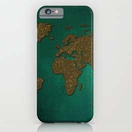 Teal and gold world map iPhone Case