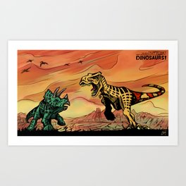 T-Rex and Triceratops Battle Art Print