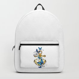 Anchor with Blue Butterflies Morpho Backpack