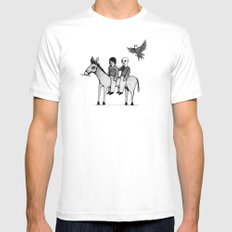 And you will return with your horse tired White MEDIUM Mens Fitted Tee