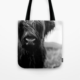 Scottish Highland Cattle Baby - Black and White Animal Photography Tote Bag
