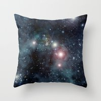 outer space Throw Pillows featuring Outer Space by apgme