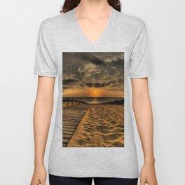 Beach Sand Road Traces Fence Sun Evening Sky Decline Clouds Unisex V-Neck