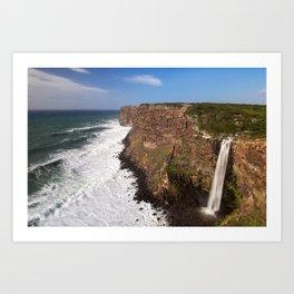 Waterfall into the seaside Art Print
