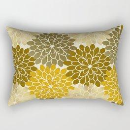 Golden Petals Pattern Rectangular Pillow