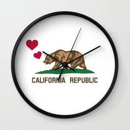 California Republic Bear with Hearts Wall Clock