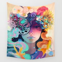 60s Wall Tapestries featuring Fleur by AlexToothArt
