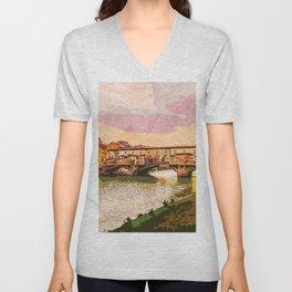 Florence, Ponte Vecchio Unisex V-Neck