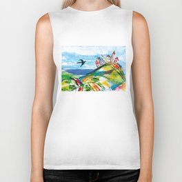 Swallow in the fairytale, painted pattern for kids, colourfull illustration Biker Tank