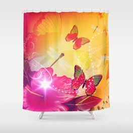Awesome colorful flowers and butterfly Shower Curtain