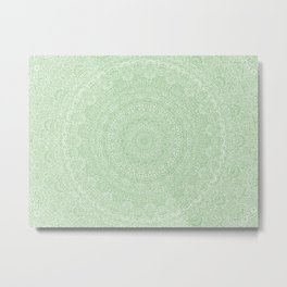 The Most Detailed Intricate Mandala (Green Olive Lime) Maze Zentangle Hand Drawn Popular Trending Metal Print