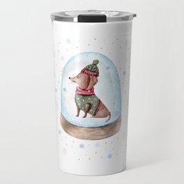 Dog Snow Globe (1) Travel Mug