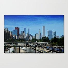 Chicago Skyline Train Yard Canvas Print