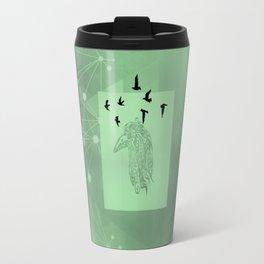 Tribal Raven: Green Travel Mug