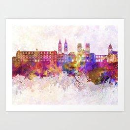 Caen skyline in watercolor background Art Print