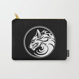 White and Black Growling Wolf Disc Carry-All Pouch