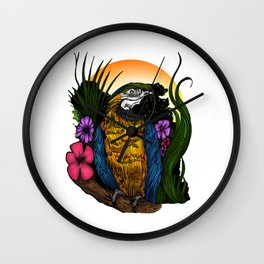 Tropical Parrot Wall Clock