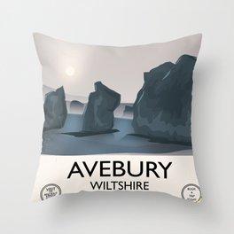Avebury, Wiltshire Stone circle Train travel poster Throw Pillow