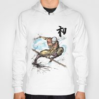 airbender Hoodies featuring Aang from Avatar the Last Airbender sumi/watercolor by mycks