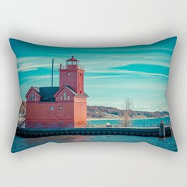 Holland Harbor Pierhead Light aka Big Red Lighthouse on Lake Michigan Rectangular Pillow