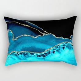 Teal Blue, Aqua, & Glitter Gold Agate Marble Rectangular Pillow