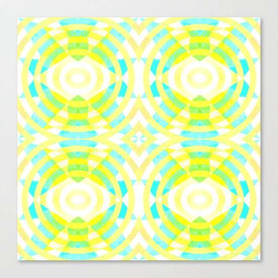 Funky geometry in yellow and blue Canvas Print