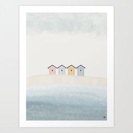 Beach Cabins Art Print