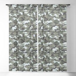 Modern Urban Military Camouflage Seamless Pattern Sheer Curtain