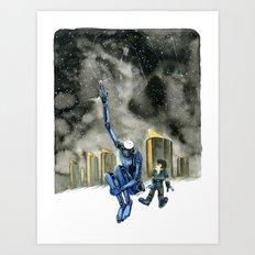 Moonbot #3: Blue Art Print