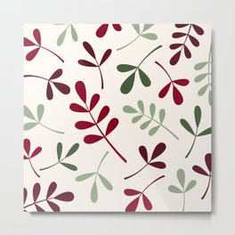 Assorted Leaf Silhouettes Reds Greens Cream Metal Print