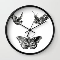 tattoos Wall Clocks featuring Tattoos by Hoeroine