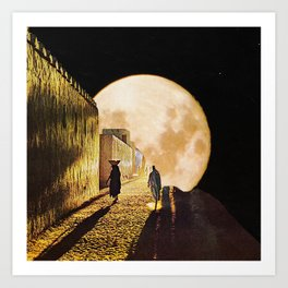 Walking at the moonlight Art Print