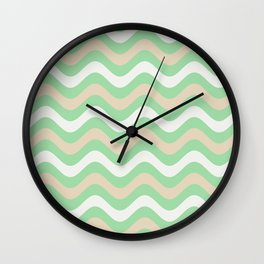 Pastel Green, Beige & Linen White Stripes Wavy Pattern Pairs to 2020 Color of the Year Neo Mint Wall Clock